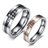 TITANIUM RING Cincin Couple Size 7(F) & 8(M) [GS201] - Silver and Gold-Silver and Black &